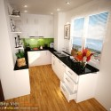 Tủ bếp gỗ Acrylic dạng chữ U   TVB1227
