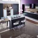 Tủ bếp Laminate màu đen, chữ L   TVB 1139
