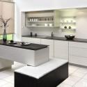 Tủ bếp Laminate màu trắng sữa mờ, chữ I có bàn đảo   TVB 1142