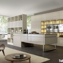 Tủ bếp gỗ Acrylic hình chữ I màu trắng sữa có đảo   TVB 1203