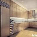 Tủ bếp Laminate màu vân gỗ chữ L   TVB0859