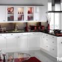 Tủ bếp Acrylic trắng chữ L   TVB0918