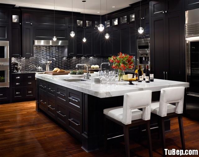 8663fb3ec3n 12121.jpg1 Tủ bếp gỗ tự nhiên sơn men màu đen chữ L có đảo TVB 1211