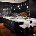 Tủ bếp gỗ tự nhiên sơn men màu đen chữ L có đảo TVB 1211