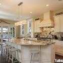 Tủ bếp gỗ Xoan Đào sơn men trắng chữ I có bàn đảo   TVB0997